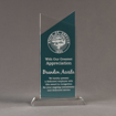 """Front view of Lucent™ 10"""" Candescent Acrylic Award with translucent azure color highlight showing trophy laser engraving."""