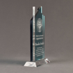 """Side view of Lucent™ 10"""" Candescent Acrylic Award with translucent cardinal color highlight showing trophy laser engraving."""