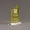 """Angle view of Lucent™ 8"""" Candescent Acrylic Award with translucent lemon yellow color highlight showing trophy laser engraving."""