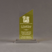 """Front view of Lucent™ 8"""" Candescent Acrylic Award with translucent lemon yellow color highlight showing trophy laser engraving."""