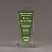 """Front view of Lucent™ 10"""" Dazzle Acrylic Award with translucent apple green yellow color highlight showing trophy laser engraving."""