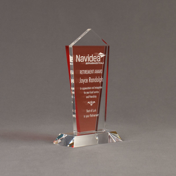 """Angle view of Lucent™ 8"""" Dazzle Acrylic Award with translucent tangerine color highlight showing trophy laser engraving."""