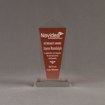 """Front view of Lucent™ 8"""" Dazzle Acrylic Award with translucent tangerine color highlight showing trophy laser engraving."""