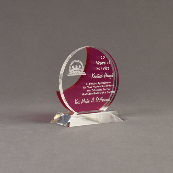 """Angle view of Lucent™ 5"""" Eclipse Acrylic Award with translucent fuchsia color highlight showing trophy laser engraving."""