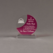 """Front view of Lucent™ 5"""" Eclipse Acrylic Award with translucent fuchsia color highlight showing trophy laser engraving."""