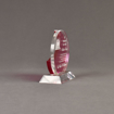 """Side view of Lucent™ 5"""" Eclipse Acrylic Award with translucent fuchsia color highlight showing trophy laser engraving."""