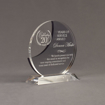 "Angle view of Lucent™ 7"" Eclipse Acrylic Award with translucent smoke color highlight showing trophy laser engraving."