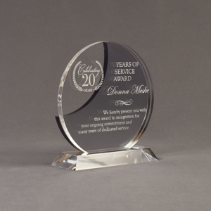 """Angle view of Lucent™ 7"""" Eclipse Acrylic Award with translucent smoke color highlight showing trophy laser engraving."""