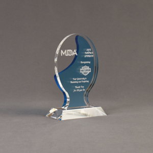 """Angle view of Lucent™ 6"""" Glow Acrylic Award with translucent azure color highlight showing trophy laser engraving."""