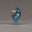 "Front view of Lucent™ 6"" Glow Acrylic Award with translucent azure color highlight showing trophy laser engraving."