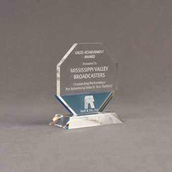 """Angle view of Lucent™ 5"""" Lambent Acrylic Award with translucent sky blue color highlight showing trophy laser engraving."""