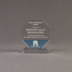 """Front view of Lucent™ 5"""" Lambent Acrylic Award with translucent sky blue color highlight showing trophy laser engraving."""