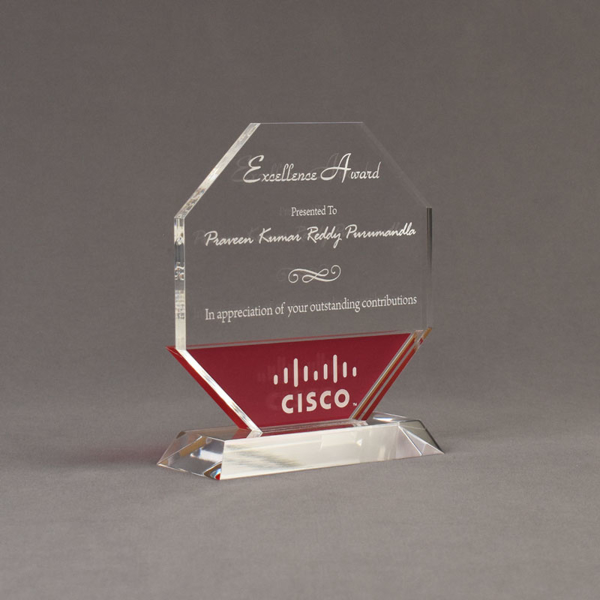 "Angle view of Lucent™ 7"" Lambent Acrylic Award with translucent cardinal color highlight showing trophy laser engraving."