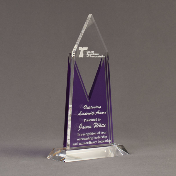 """Angle view of Lucent™ 10"""" Luminous Acrylic Award with translucent royal purple yellow color highlight showing trophy laser engraving."""