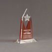 "Angle view of Lucent™ 8"" Luminous Acrylic Award with translucent tangerine color highlight showing trophy laser engraving."