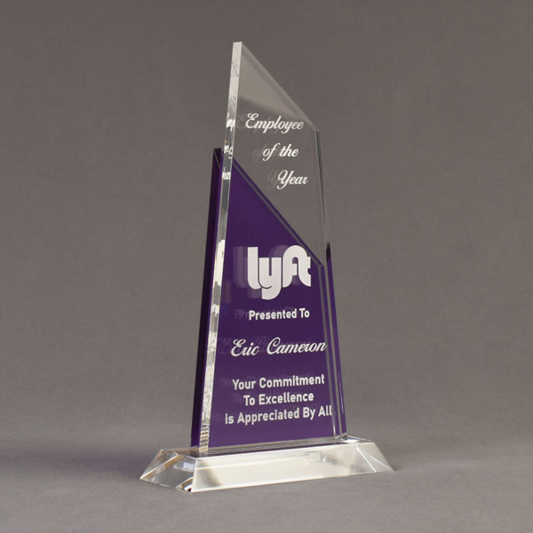 """Angle view of Lucent™ 10"""" Lustrous Acrylic Award with translucent royal purple color highlight showing trophy laser engraving."""