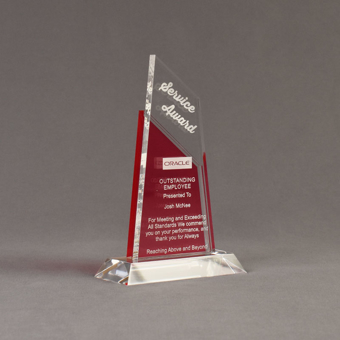 """Angle view of Lucent™ 8"""" Lustrous Acrylic Award with translucent cardinal color highlight showing trophy laser engraving."""