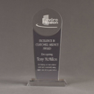 """Front view of Lucent™ 10"""" Radiant Acrylic Award with translucent smoke color highlight showing trophy laser engraving."""