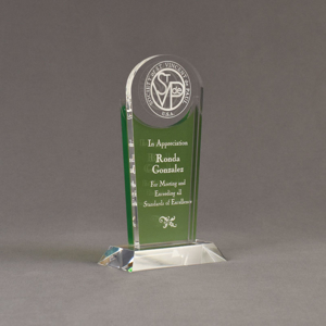 """Angle view of Lucent™ 8"""" Radiant Acrylic Award with translucent apple green color highlight showing trophy laser engraving."""