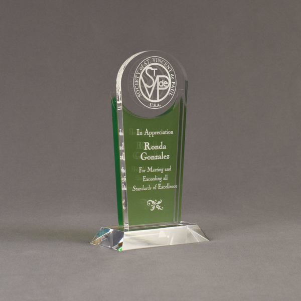 "Angle view of Lucent™ 8"" Radiant Acrylic Award with translucent apple green color highlight showing trophy laser engraving."