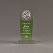 "Front view of Lucent™ 8"" Radiant Acrylic Award with translucent apple green color highlight showing trophy laser engraving."
