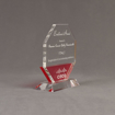 "Side view of Lucent™ 7"" Lambent Acrylic Award with translucent cardinal color highlight showing trophy laser engraving."