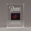 """Front view of Allure™ 7"""" x 9"""" Acrylic Entrapment Award with studio film clip of Babe movie sandwiched inside two pieces of crystal clear acrylic."""