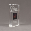 """Side view of Allure™ 7"""" x 9"""" Acrylic Entrapment Award with studio film clip of Babe movie sandwiched inside two pieces of crystal clear acrylic."""