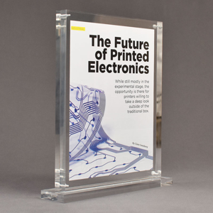 """Angle view of Allure™ 8"""" x 10"""" Acrylic Entrapment Award with printed Future of Printed Electronics message inside two pieces of clear acrylic on base."""