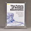 """Front view of Allure™ 8"""" x 10"""" Acrylic Entrapment Award with printed Future of Printed Electronics message inside two pieces of clear acrylic on base."""