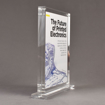 """Side view of Allure™ 8"""" x 10"""" Acrylic Entrapment Award with printed Future of Printed Electronics message inside two pieces of clear acrylic on base."""