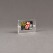 """Angle view of Allure™ 3"""" x 4"""" Acrylic Entrapment Award with Rolling Stones credit card inside two pieces of clear acrylic."""