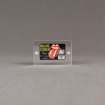 """Front view of Allure™ 3"""" x 4"""" Acrylic Entrapment Award with Rolling Stones credit card inside two pieces of clear acrylic."""