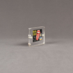 """Side view of Allure™ 3"""" x 4"""" Acrylic Entrapment Award with Rolling Stones credit card inside two pieces of clear acrylic."""