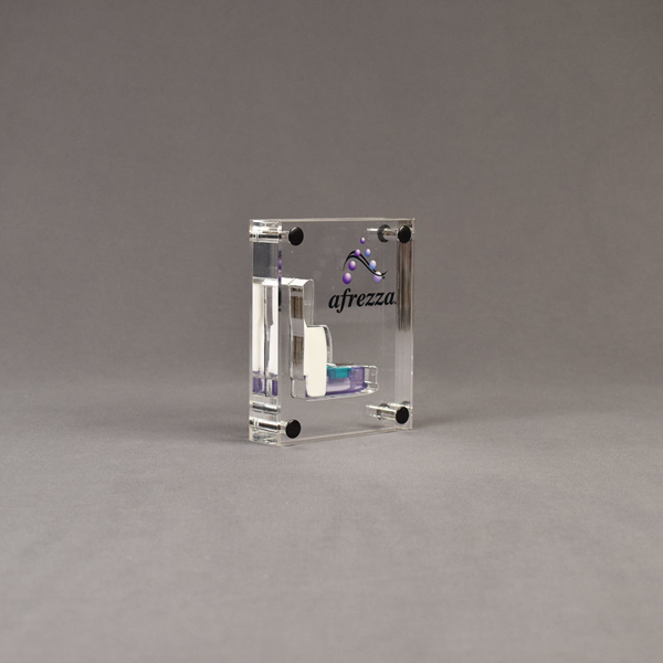 Angle view of x-small Allure™ Acrylic Encasement Award with Afrezza medical inhaler encased into clear acrylic showing full color imprint.