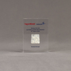 Front view of small Allure™ Floating Acrylic Encasement Award with Exxon Infineum pellet sample encased into clear acrylic showing full color imprint.