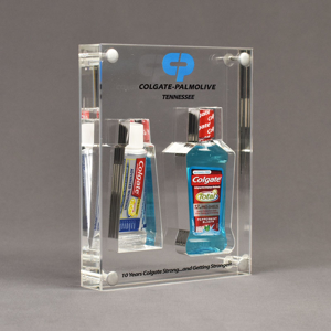 Angle view of x-large Allure™ Acrylic Encasement Award with Colgate toothpaste and mouthwash bottle encased into clear acrylic showing full color imprint.