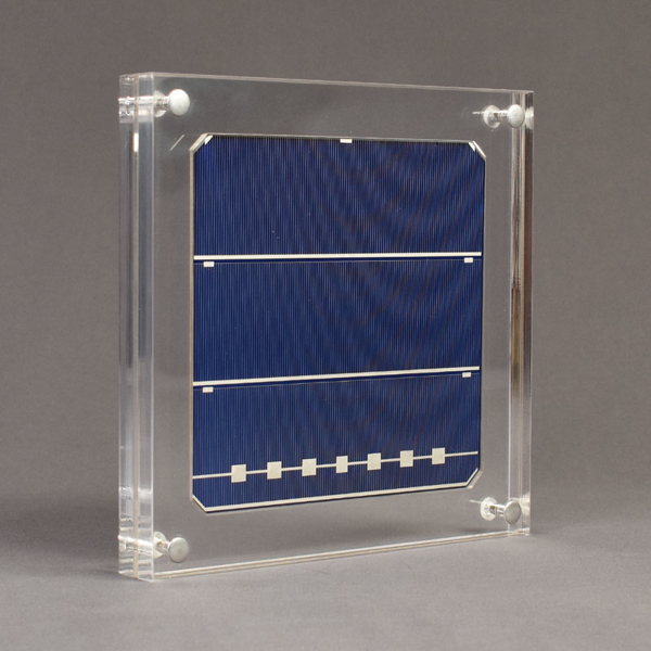 Angle view of xx-large Allure™ Acrylic Encasement Award with silicon wafer encased into clear acrylic showing front view of wafer.
