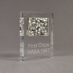Angle view of large Allure™ Floating Acrylic Encasement Award with aluminum metal shavings encased into clear acrylic showing engraved text.