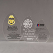 Aspect™ Crescent Acrylic Award Grouping showing all three sizes of acrylic trophies.