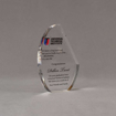 "Angle view of 6"" Aspect™ Crescent Acrylic Award featuring full color printed logo and text."