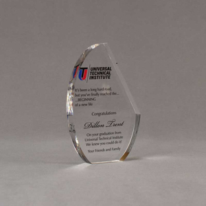 """Angle view of 6"""" Aspect™ Crescent Acrylic Award featuring full color printed logo and text."""