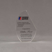 "Front view of 6"" Aspect™ Crescent Acrylic Award featuring full color printed logo and text."
