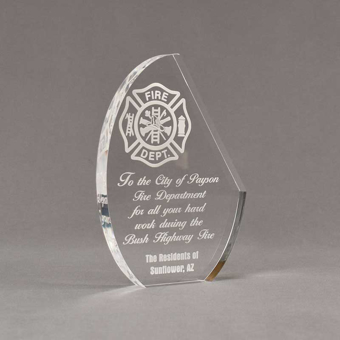 """Angle view of 7"""" Aspect™ Crescent Acrylic Award featuring laser engraved fire logo and text."""