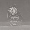 """Front view of 7"""" Aspect™ Crescent Acrylic Award featuring laser engraved fire logo and text."""