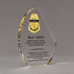 """Angle view of 8"""" Aspect™ Crescent Acrylic Award featuring full color printed border patrol logo and text."""