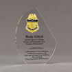 """Front view of 8"""" Aspect™ Crescent Acrylic Award featuring full color printed border patrol logo and text."""