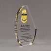"""Side view of 8"""" Aspect™ Crescent Acrylic Award featuring full color printed border patrol logo and text."""