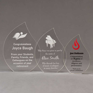 Aspect™ Flame Acrylic Award Grouping showing all three sizes of acrylic trophies.