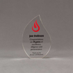 """Front view of 6"""" Aspect™ Flame™ Acrylic Award featuring full color flame logo and black printed text."""